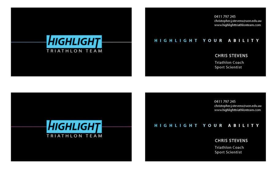 Inscrição nº 58 do Concurso para Business Card Design for Highlight Triathlon Team