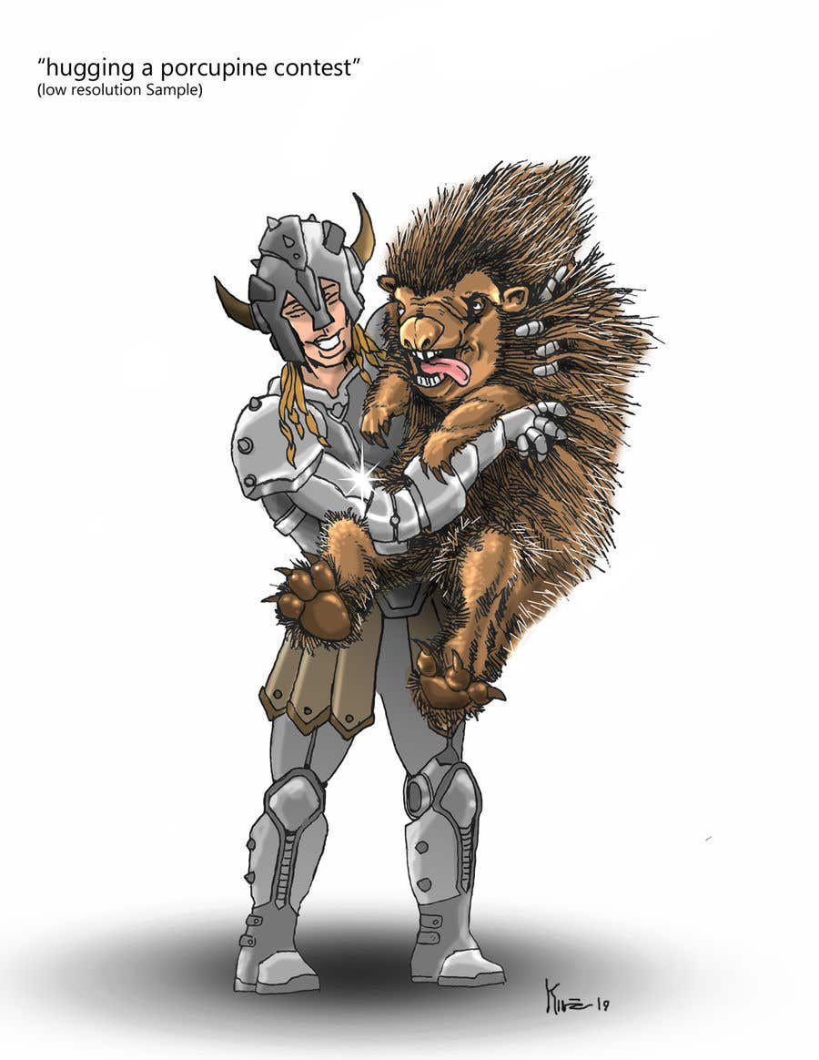 Bài tham dự cuộc thi #66 cho Creative art of someone wearing battle armor hugging a porcupine. Artwork Illustration