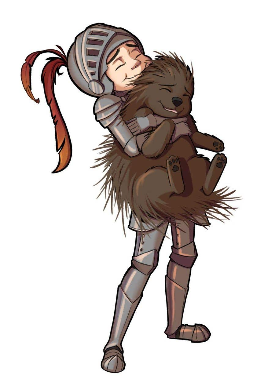 Bài tham dự cuộc thi #105 cho Creative art of someone wearing battle armor hugging a porcupine. Artwork Illustration