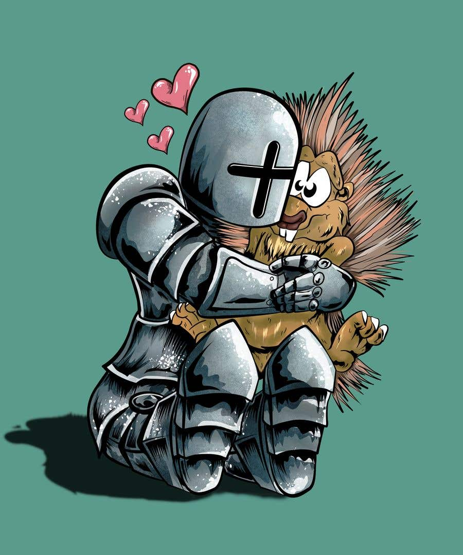Bài tham dự cuộc thi #98 cho Creative art of someone wearing battle armor hugging a porcupine. Artwork Illustration