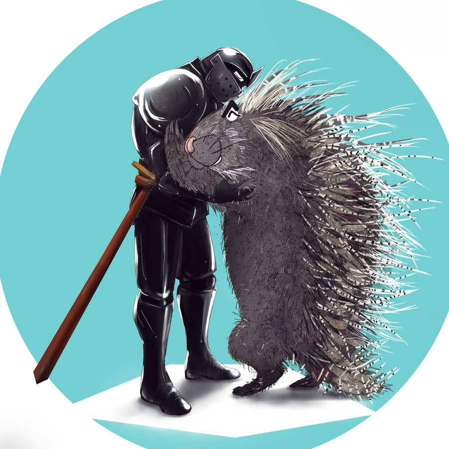 Bài tham dự cuộc thi #114 cho Creative art of someone wearing battle armor hugging a porcupine. Artwork Illustration
