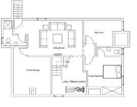 Nro 15 kilpailuun Design Floor plans for finished basement käyttäjältä amgadgaafar
