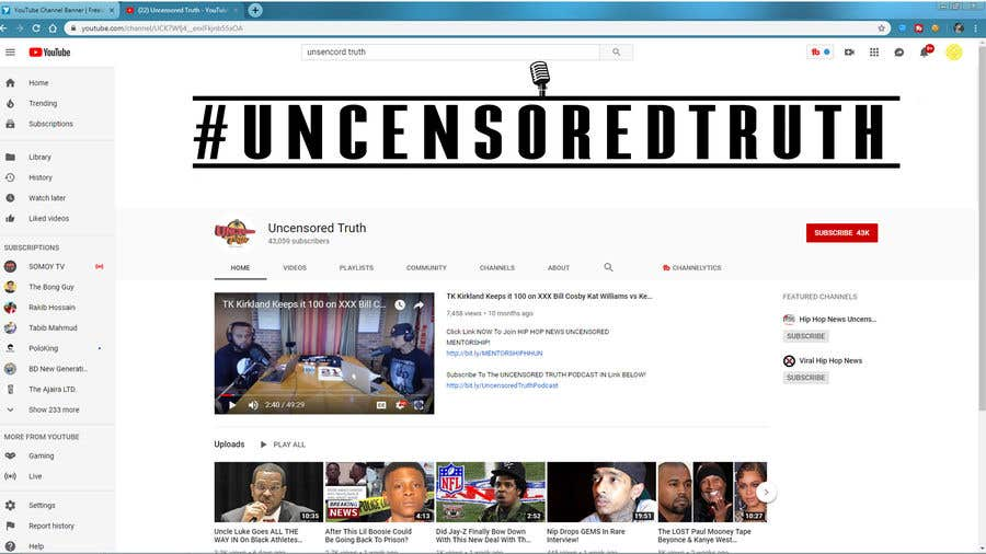 Penyertaan Peraduan #132 untuk YouTube Channel Banner