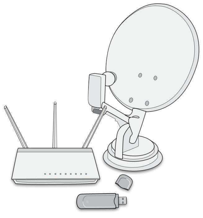 Proposition n°                                        1                                      du concours                                         Electronics 3 vector art, ADSL Modem, Wireless USB, Satellite Dish