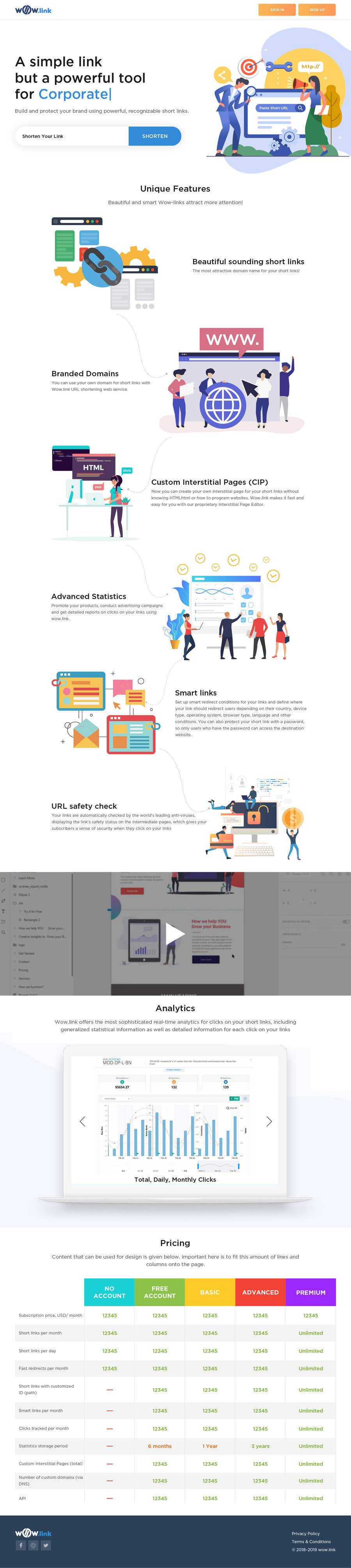 Proposition n°11 du concours Redesign home landing page for wow.link