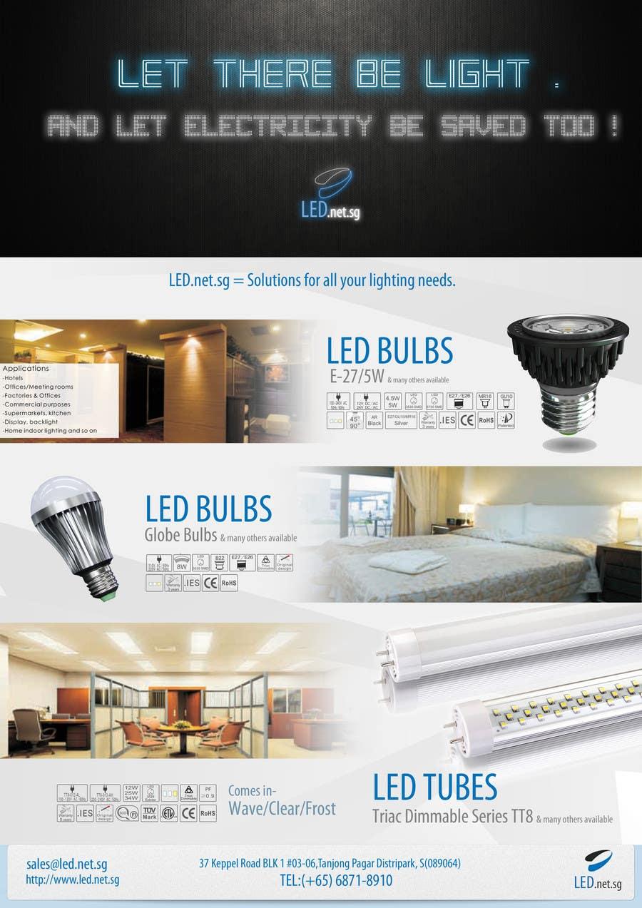 Kilpailutyö #                                        5                                      kilpailussa                                         Advertisement Design for LED lighting products.
