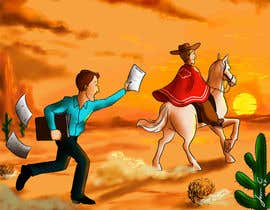 #3 for Cartoon image of professor riding into sunset ignoring a graduate student by jasongcorre