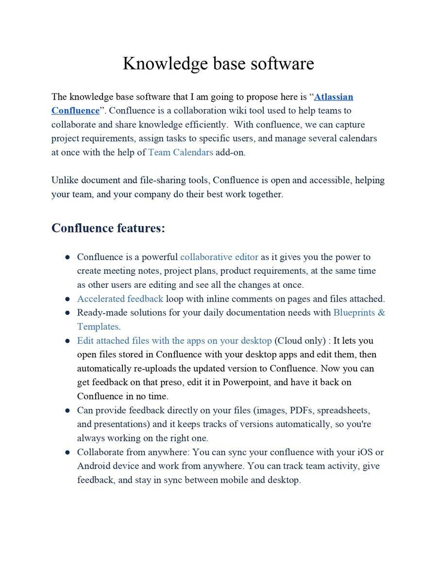 Bài tham dự cuộc thi #1 cho Propose me the best Knowledge Base software