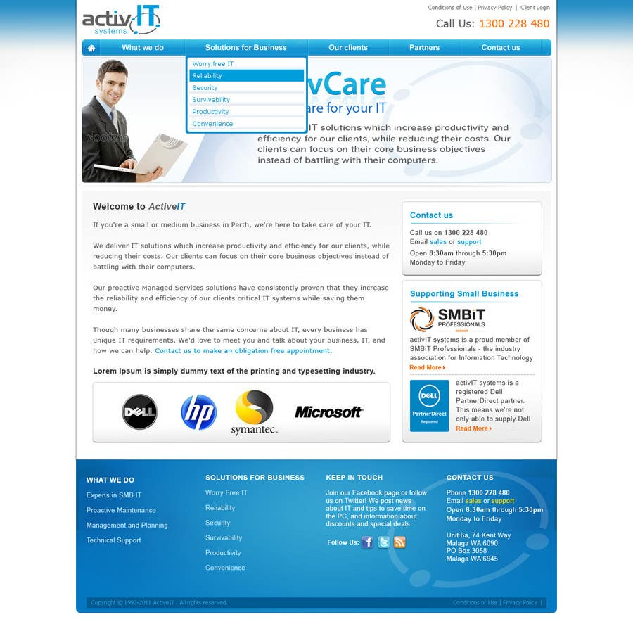 Penyertaan Peraduan #44 untuk Website Design for activIT systems