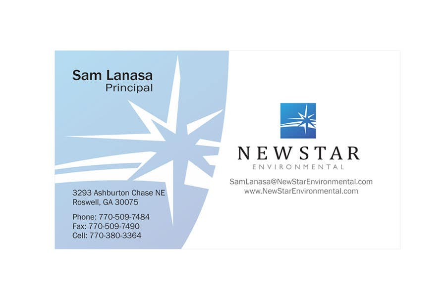 Конкурсная заявка №92 для Business Card Design for New Star Environmental