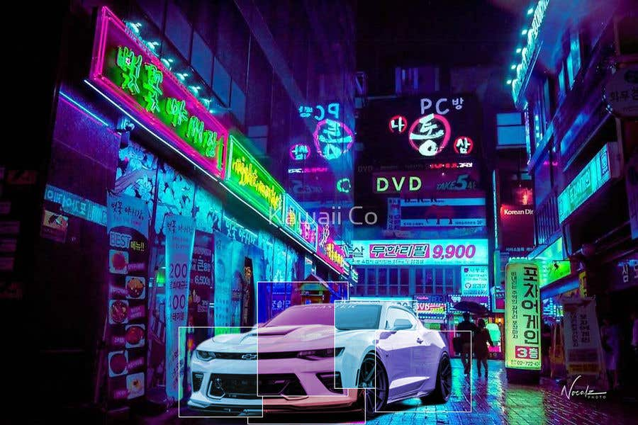 Proposition n°6 du concours I'm looking for someone design/create custom retro 80's artwork (examples below) and photoshop it onto a 2017 Camaro zl1 1le (example below).  Mainly focus on the colors. I'm open to all kinds of work but these are my favorites.