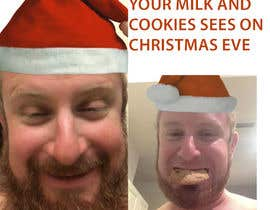 #6 cho I'd like a Santa hat photo shopped on both pictures of the guy and then combined together with the text shown on the first picture. This will be a Christmas card so feel free to add other Christmas-like images like lights around the photo...etc. bởi Jony2200
