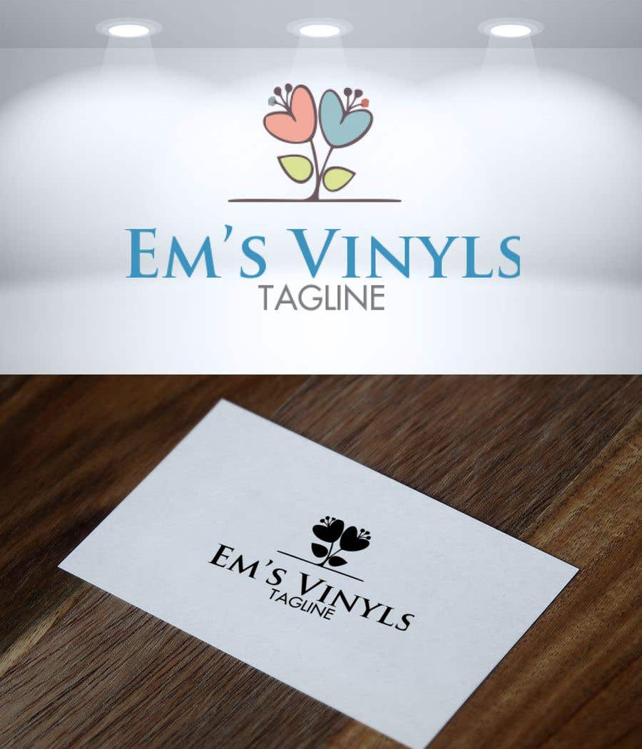 "Penyertaan Peraduan #22 untuk I want a logo that says ""Em's Vinyls"" I want it to be feminine. I love the colors olive green, and white. I love boho and farmhouse style. I am using this logo for my business of vinyl cups, tshirts, car decals, etc.  - 17/11/2019 12:37 EST"