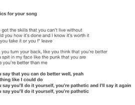 #20 pentru Write lyrics for the second verse of the song de către scoutmackay