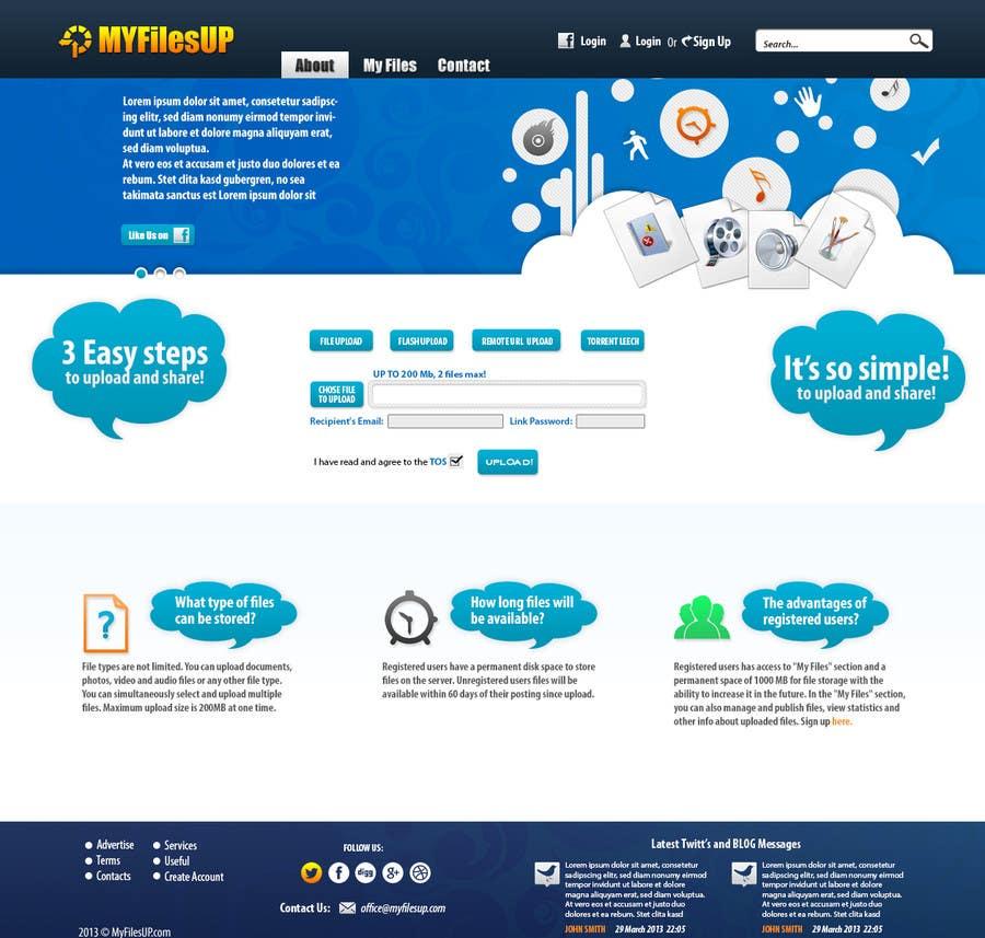 Kilpailutyö #                                        7                                      kilpailussa                                         Website Design for Upload Files website