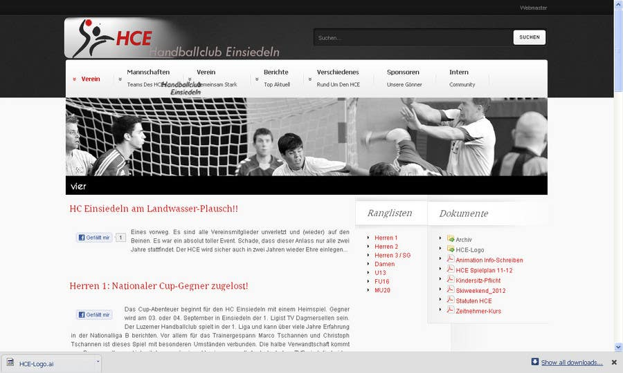Inscrição nº                                         17                                      do Concurso para                                         Logo integration into existing html template for a local sports club (handball)