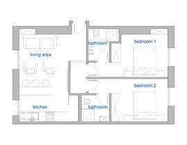 #19 cho Interior Plan for. conversion of one bedroom flat into 2 bedroom bởi archiclan