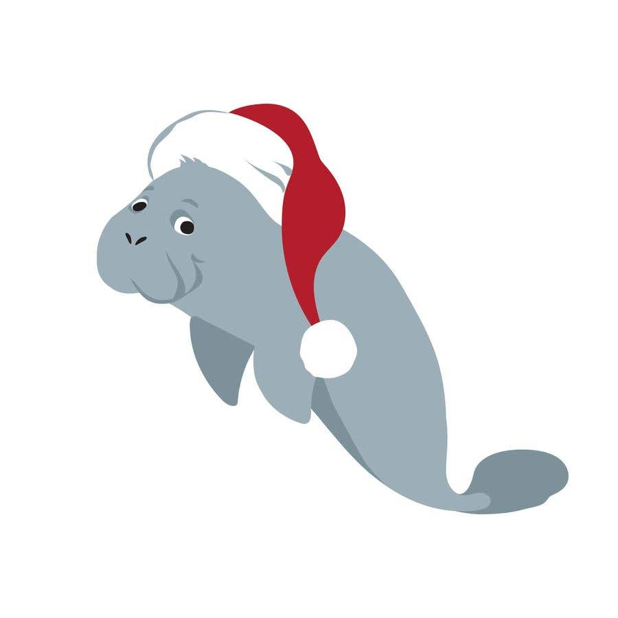 Konkurrenceindlæg #                                        14                                      for                                         T-shirt design manatee with Christmas hat