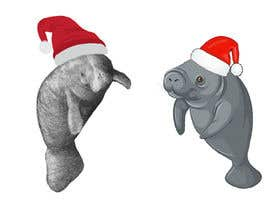 #25 for T-shirt design manatee with Christmas hat af AHMZABER11