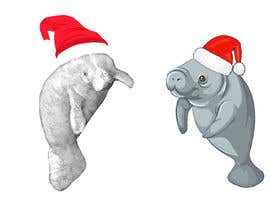 #32 for T-shirt design manatee with Christmas hat af AHMZABER11