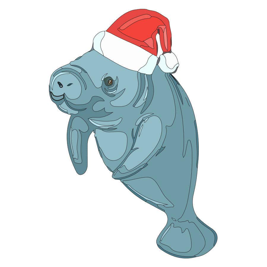 Konkurrenceindlæg #44 for T-shirt design manatee with Christmas hat