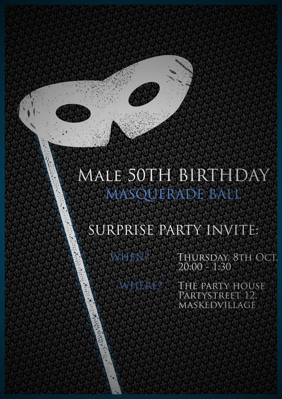 50th Birthday Masquerade Ball Invitation Male