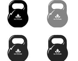 "#12 for I need a black and white illustration of a kettle bell with "" No Excuse"" written where the weight is normally displayed af acer61735"