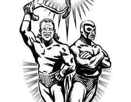 nº 12 pour caricature drawing of two wrestlers and one with my friends face and the other with mask par paezmiguel569