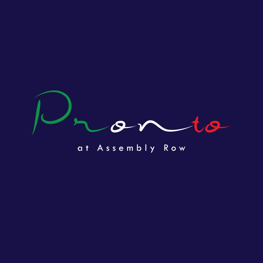 Proposition n°                                        130                                      du concours                                         logo in bright yello black and white only.   pizza / sandwich shop . name is Pronto at Assembly Row