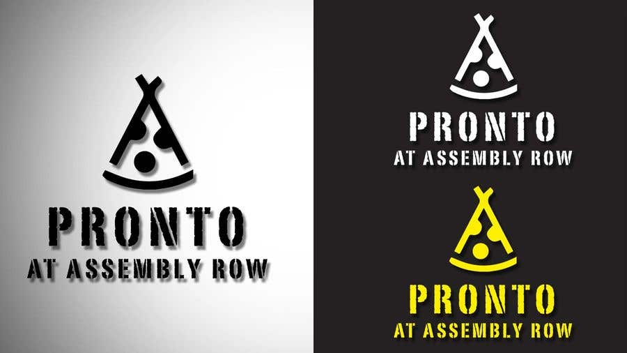 Proposition n°                                        10                                      du concours                                         logo in bright yello black and white only.   pizza / sandwich shop . name is Pronto at Assembly Row
