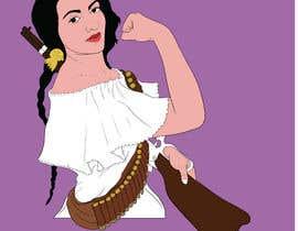 #48 para Logo Illustration Women in Dress Flexing muscle holding rifle de Anandhu650