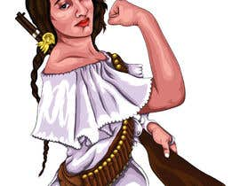#55 para Logo Illustration Women in Dress Flexing muscle holding rifle de Anandhu650