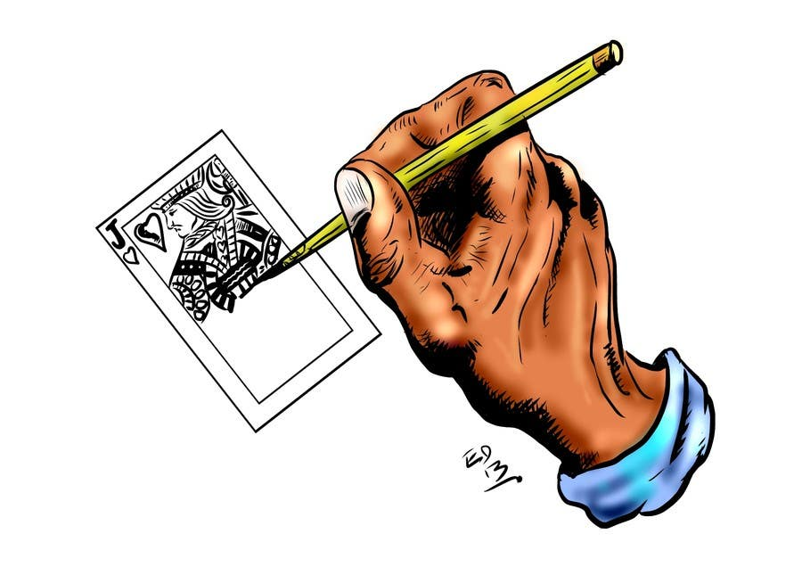 "Inscrição nº                                         3                                      do Concurso para                                         Illustration of  ""hand drawing a playing card"""