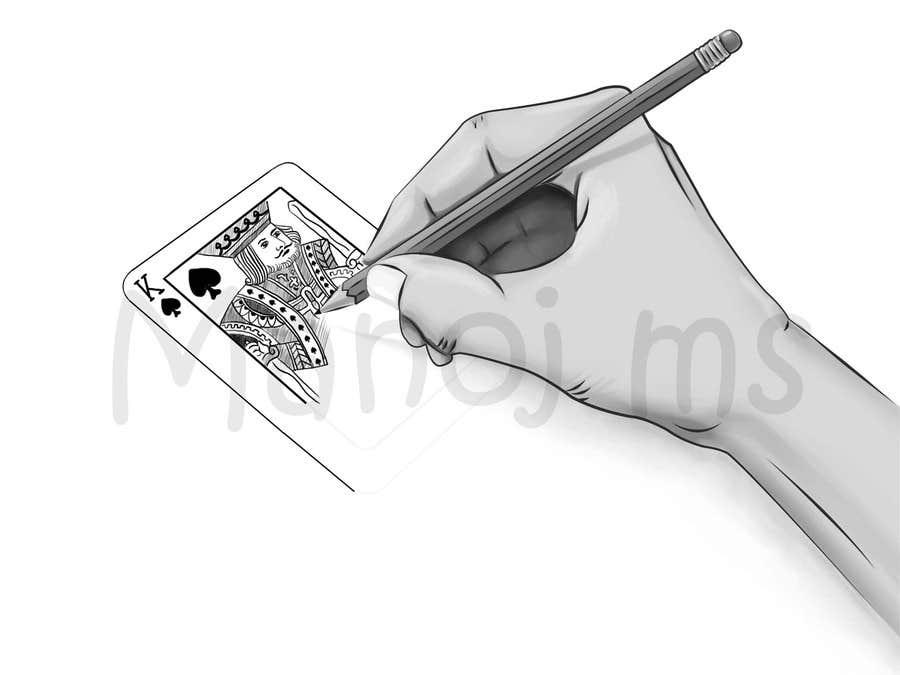 """Inscrição nº                                         18                                      do Concurso para                                         Illustration of  """"hand drawing a playing card"""""""