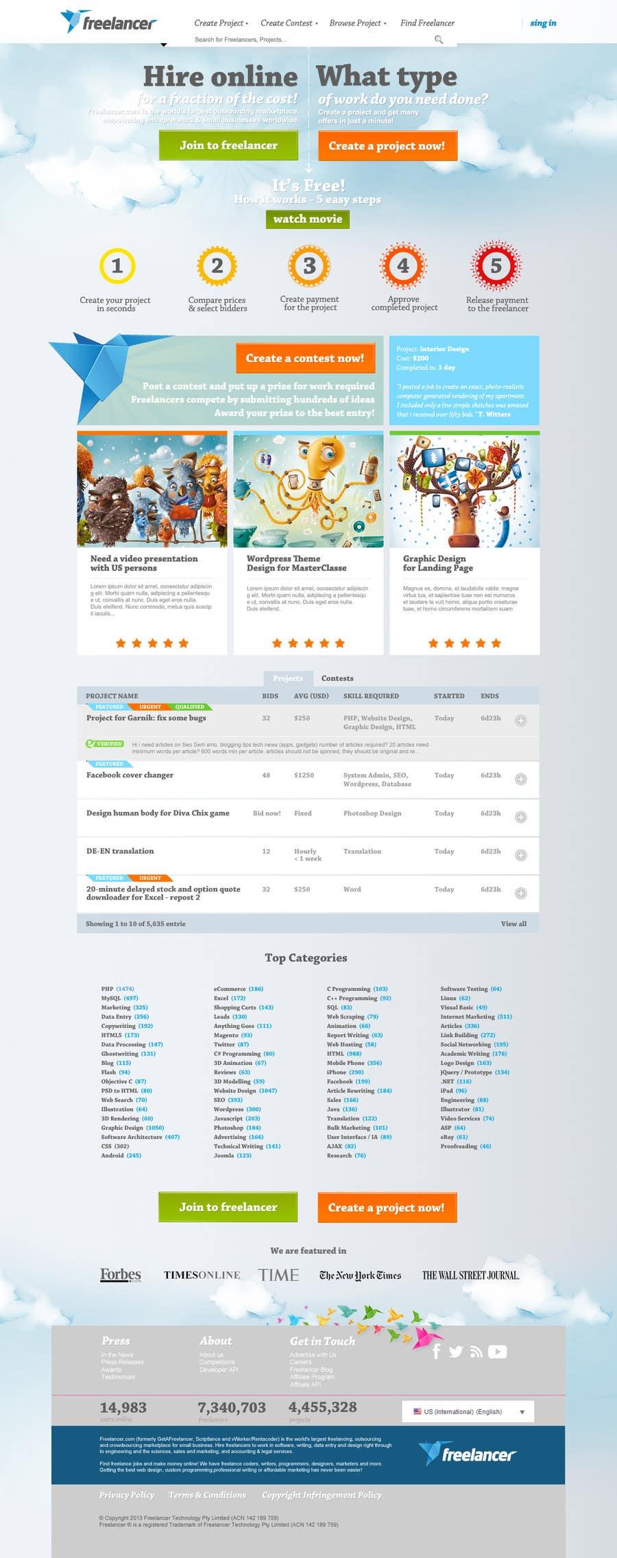 Graphic Design Contest Entry #351 for Freelancer.com contest! Design our Homepage!