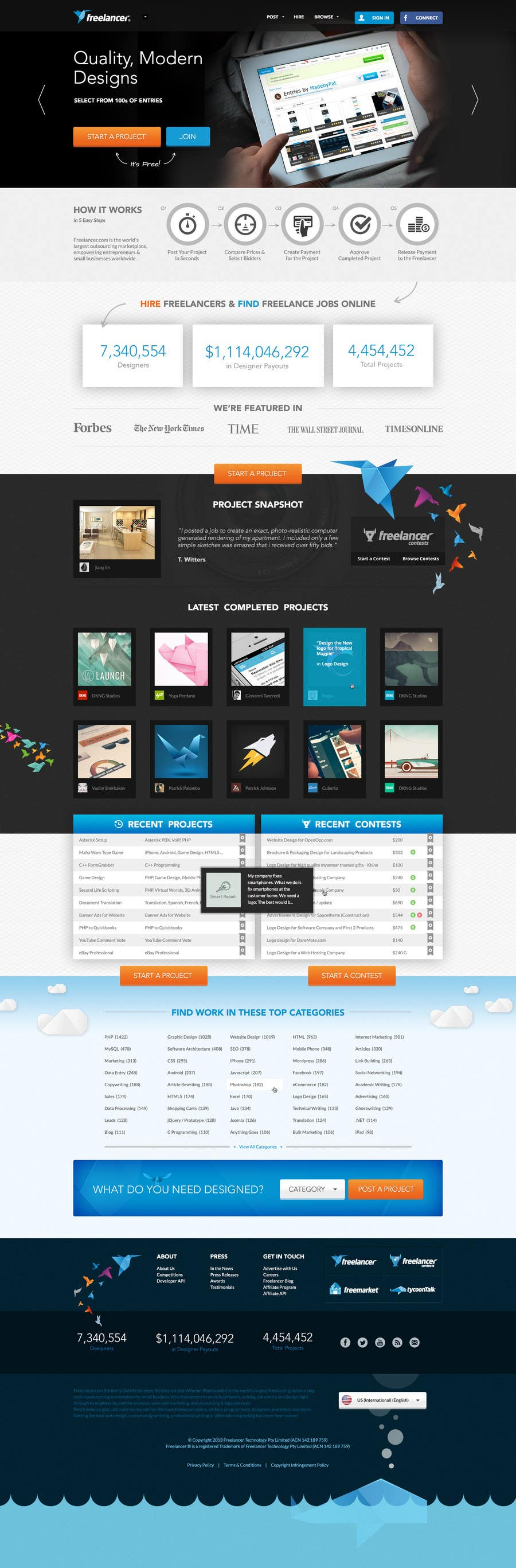 #577 for Freelancer.com contest! Design our Homepage! by MadebyPat