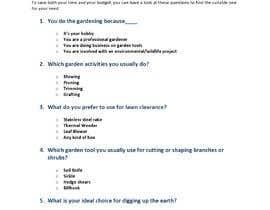 #39 pentru Garden tool survey de către taharattazrintt