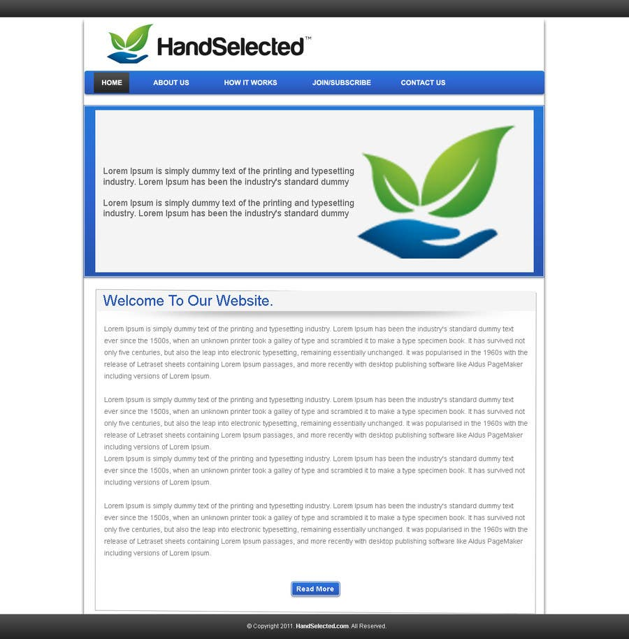 Bài tham dự cuộc thi #1 cho Website Design for HandSelected