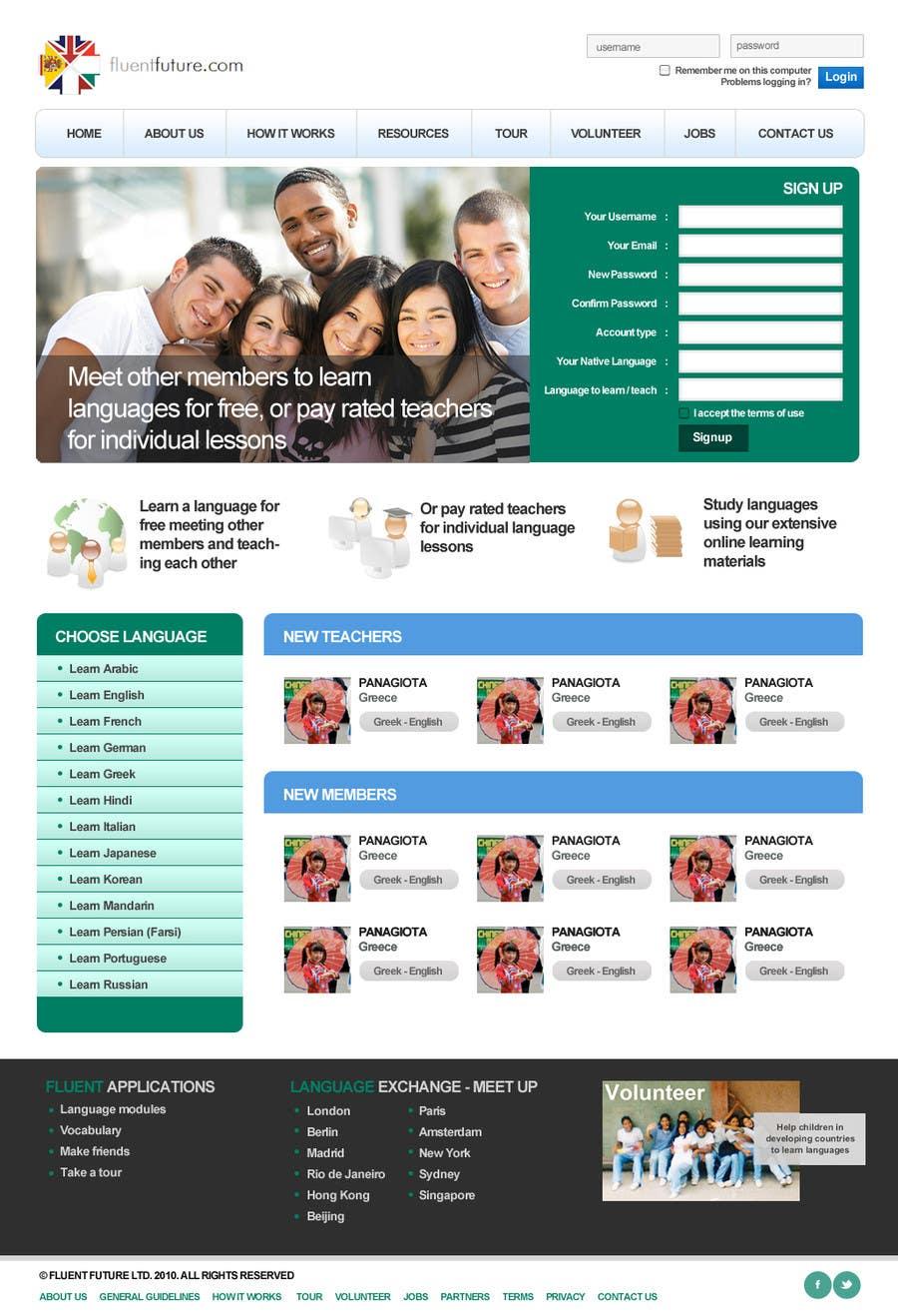 Inscrição nº 4 do Concurso para http://www.fluentfuture.com/ - language exchange home page design