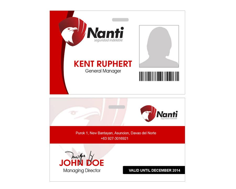 Contest Entry #                                        2                                      for                                         ID Badge for Nanti System