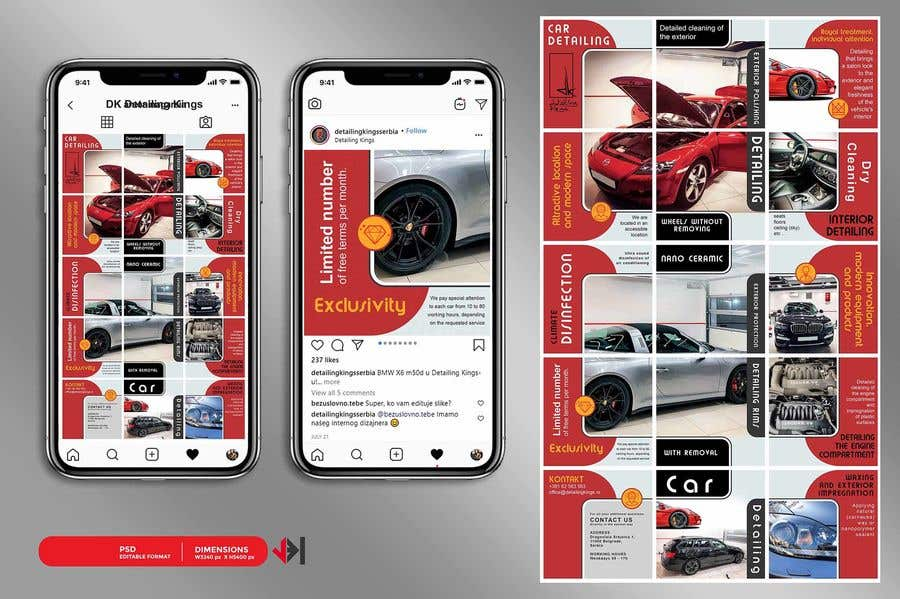 Contest Entry #                                        42                                      for                                         Design an Instagram puzzle template + brand kit for a Car Detailing business