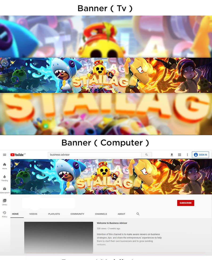 Proposition n°                                        32                                      du concours                                         Need a YouTube channel art and a channel icon for Brawl Stars game channel.