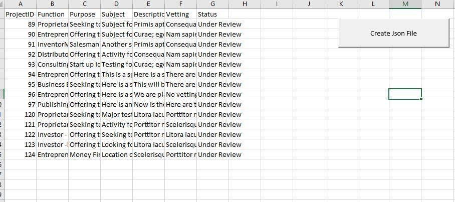 Kilpailutyö #                                        38                                      kilpailussa                                         convert excel file to json file vba code