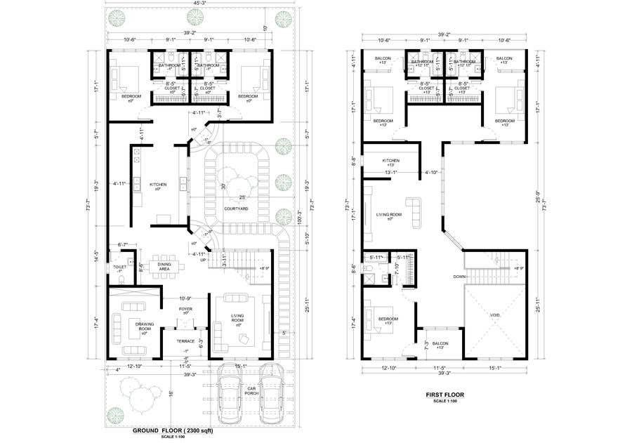 Proposition n°                                        42                                      du concours                                         Build me 2D Floor Plan for 2 Floor house!