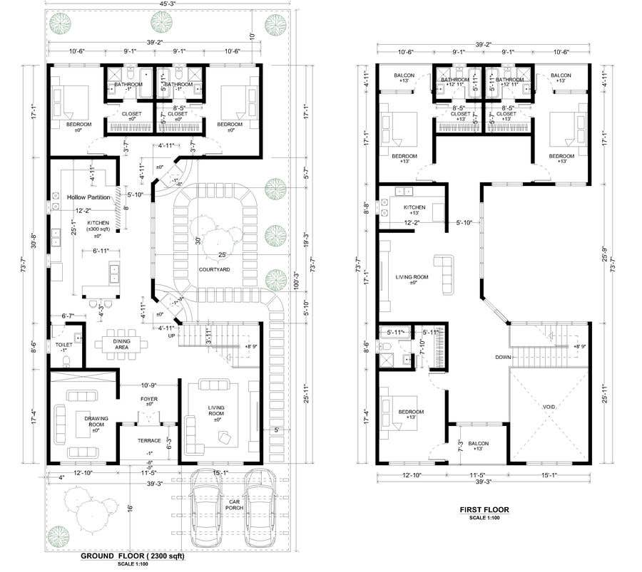 Proposition n°                                        45                                      du concours                                         Build me 2D Floor Plan for 2 Floor house!
