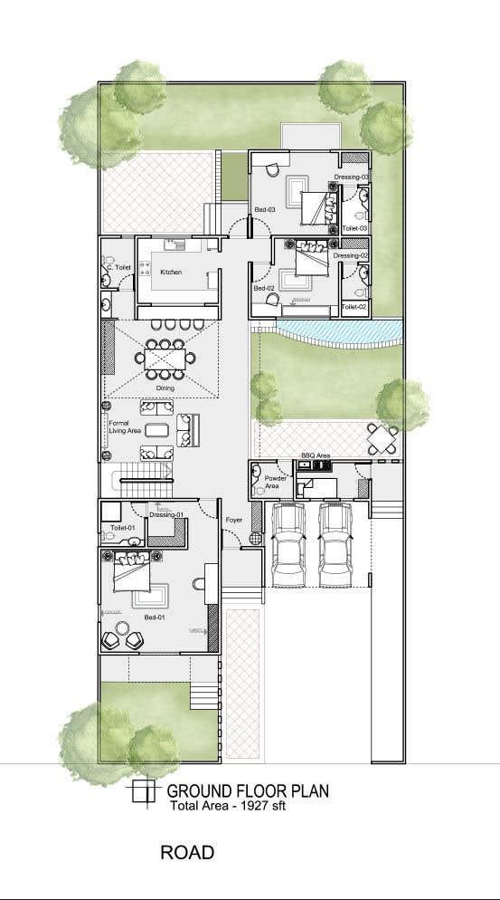 Proposition n°                                        64                                      du concours                                         Build me 2D Floor Plan for 2 Floor house!