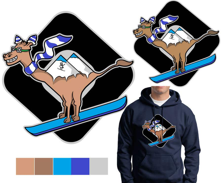 Contest Entry #                                        40                                      for                                         Design for Hoodie (Snowboarding Camel with mountains as humps)