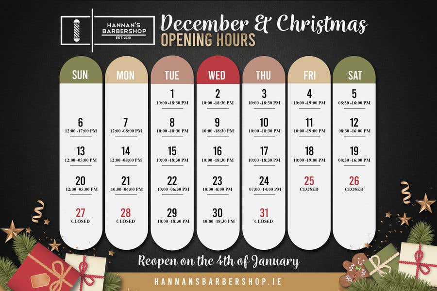 Contest Entry #                                        10                                      for                                         Christmas Opening Hours Graphic Barbershop Business