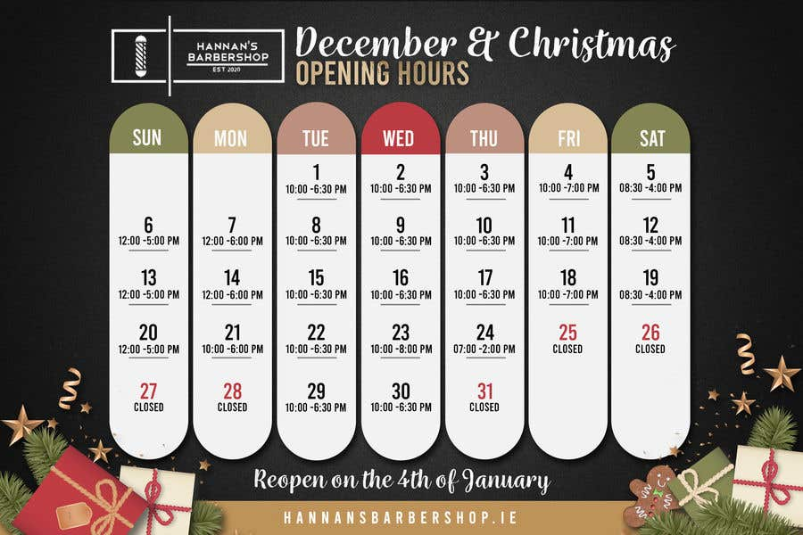 Contest Entry #                                        14                                      for                                         Christmas Opening Hours Graphic Barbershop Business
