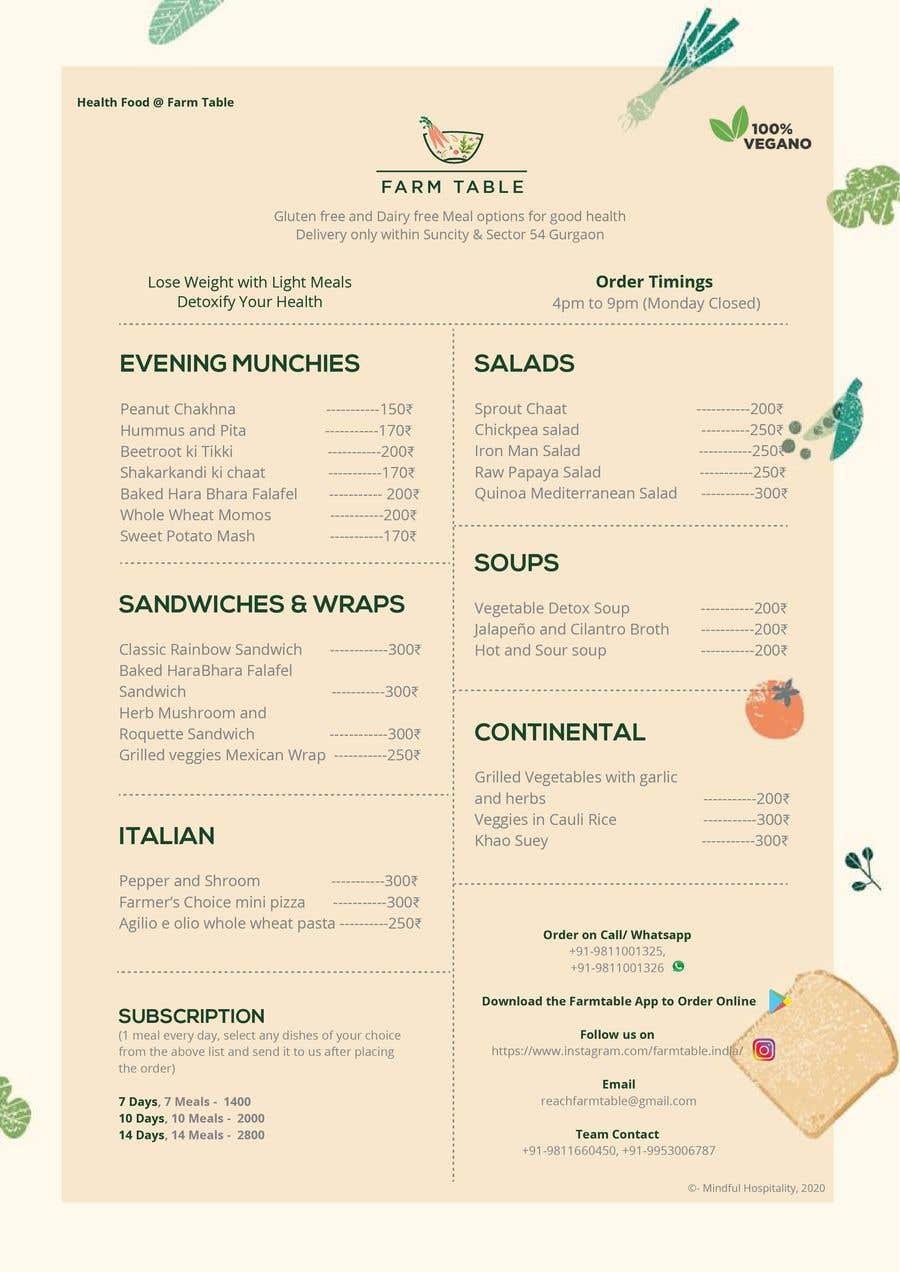 Kilpailutyö #                                        18                                      kilpailussa                                         Design a Health Food Menu Card for Farmtable Restaurant
